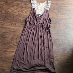Matrices brown crochet razer back dress